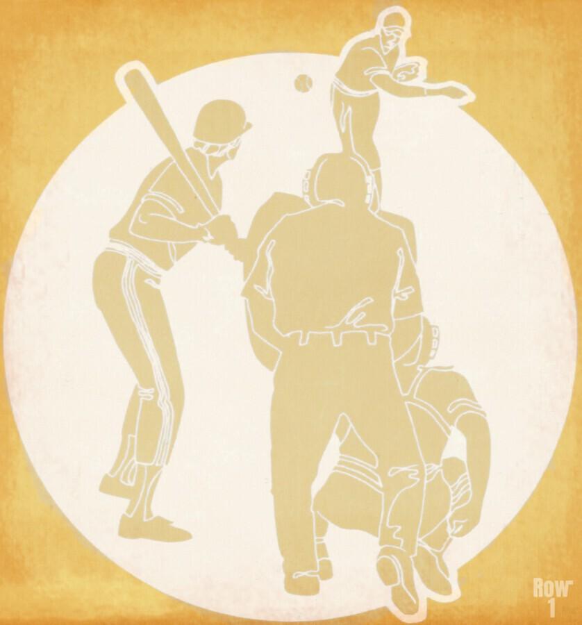 Retro Baseball Pitcher and Batter Art  Print