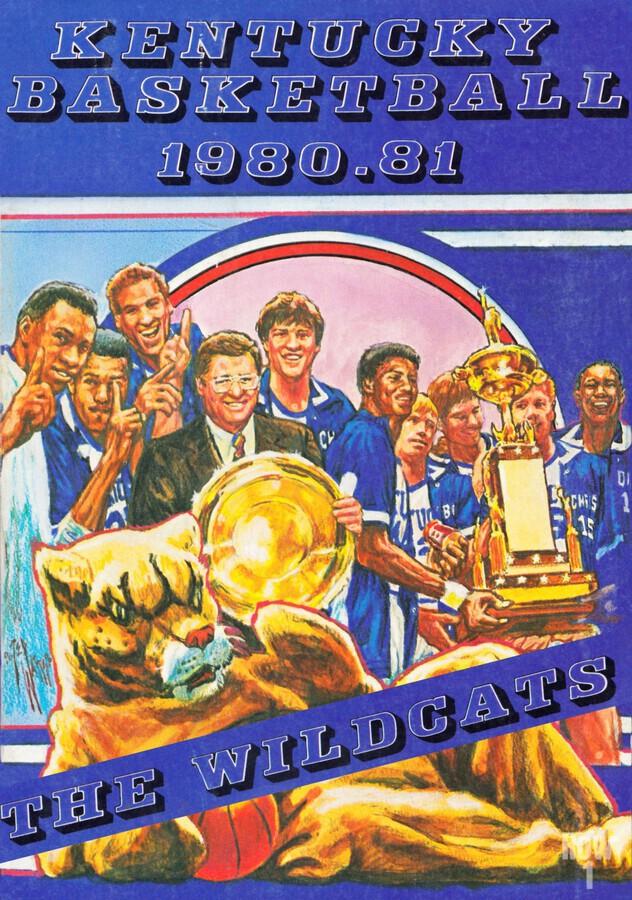 1980 kentucky wildcats basketball poster ted watts sports artist  Print