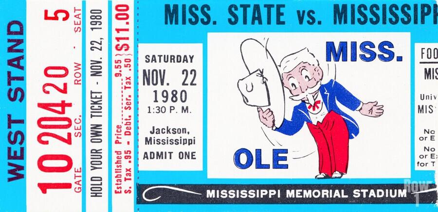 1980 Ole Miss vs. Miss State Football Ticket Stub Art  Print