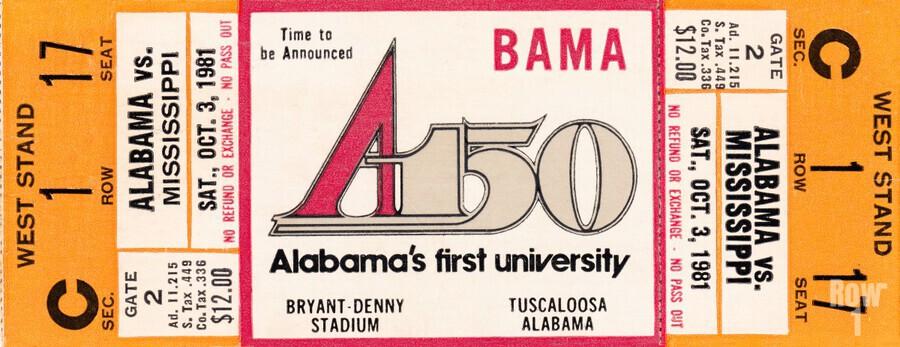 1981 Alabama Football Ticket Canvas Art  Print