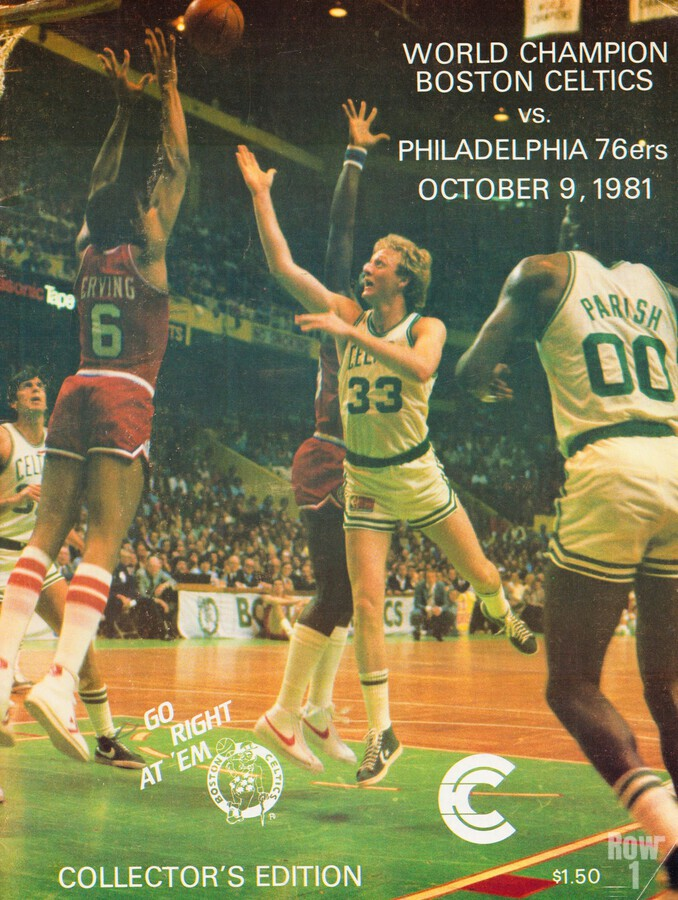 1981 boston celtics philadelphia 76ers larry bird art  Print