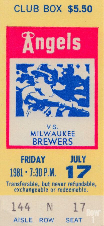 1981 california angels baseball ticket stub sports wall art  Print