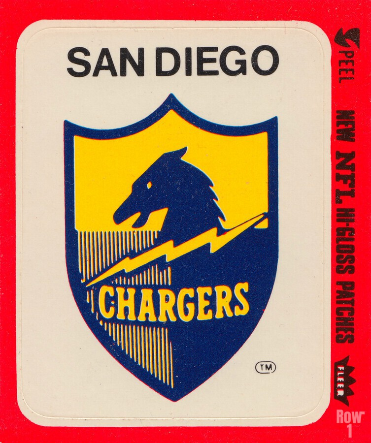 1981 fleer nfl high gloss patch san diego chargers sticker reproduction poster  Print