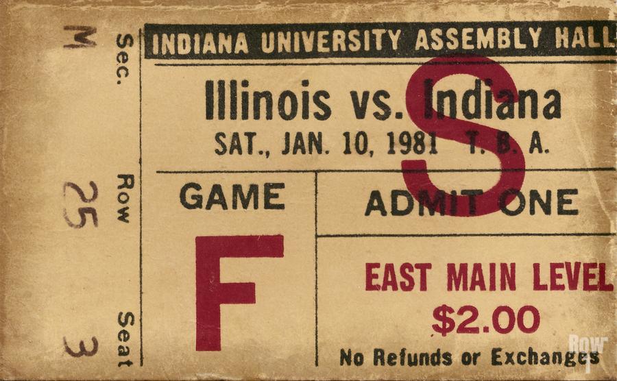 1981 Indiana vs. Illinois Basketball Ticket Art  Print