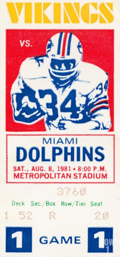 1981 minnesota miami football ticket  Print