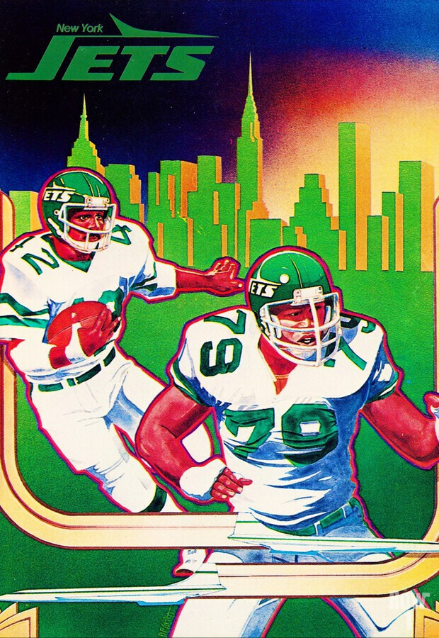 1981 new york jets nyc cityscape football poster  Print