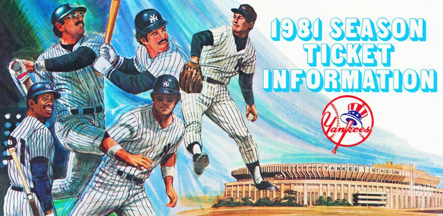 1981 new york yankees baseball season ticket information art  Print