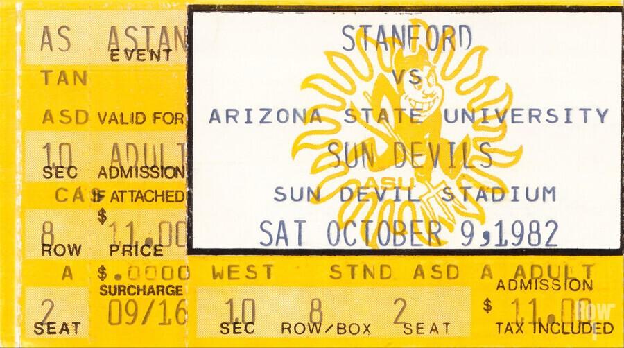 1982 arizona state sun devil college football ticket stub canvas sports wall art  Print