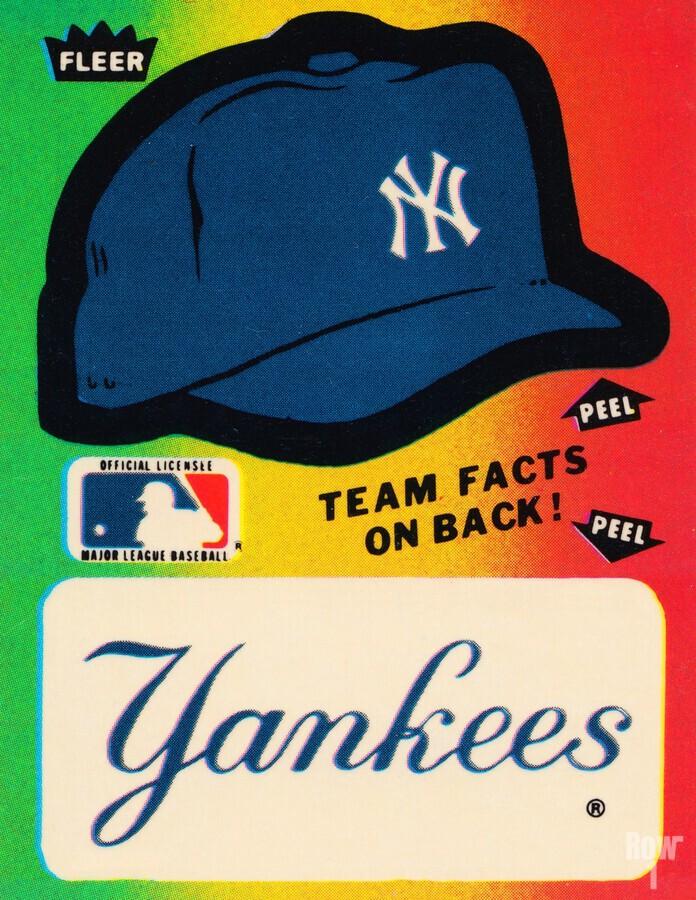 1982 fleer sticker new york yankees hat  Print