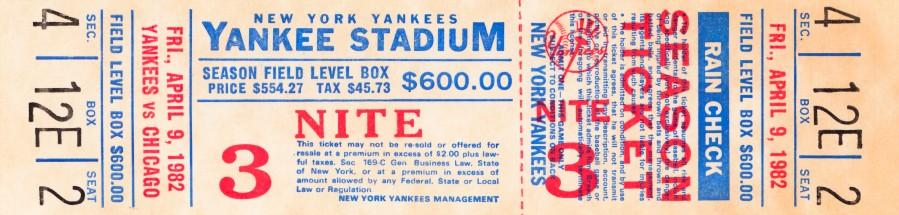 1982 new york yankees season ticket $600  Print