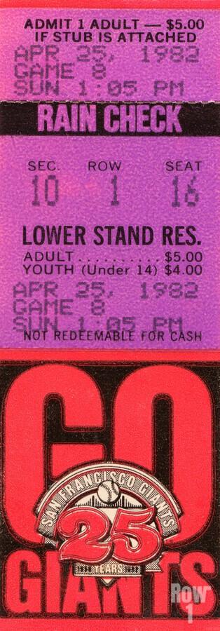 1982 San Francisco Giants Ticket Stub Art  Print
