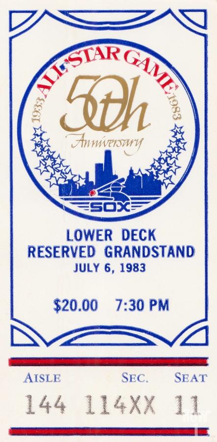 1983 Baseball All-Star Game Ticket Art  Print