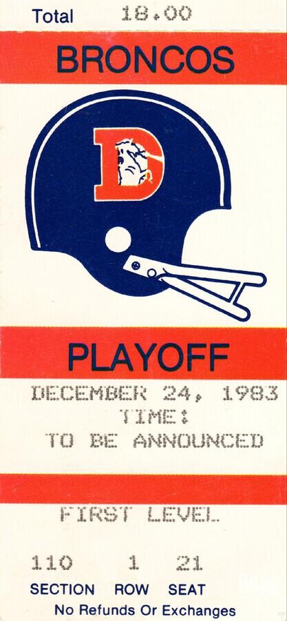 1983 Denver Broncos Football Ticket Stub   Print