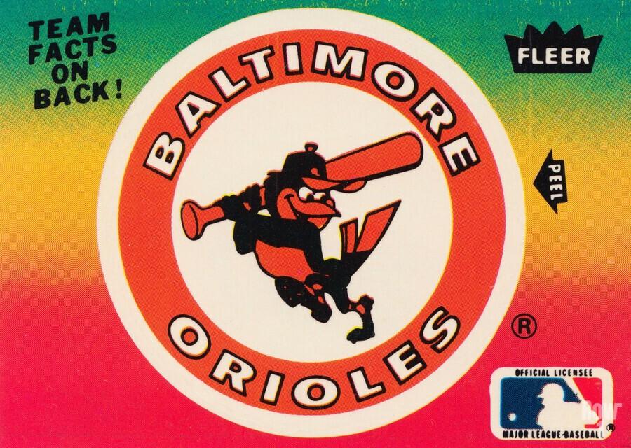 1983 fleer baseball stickers baltimore orioles wood print  Print