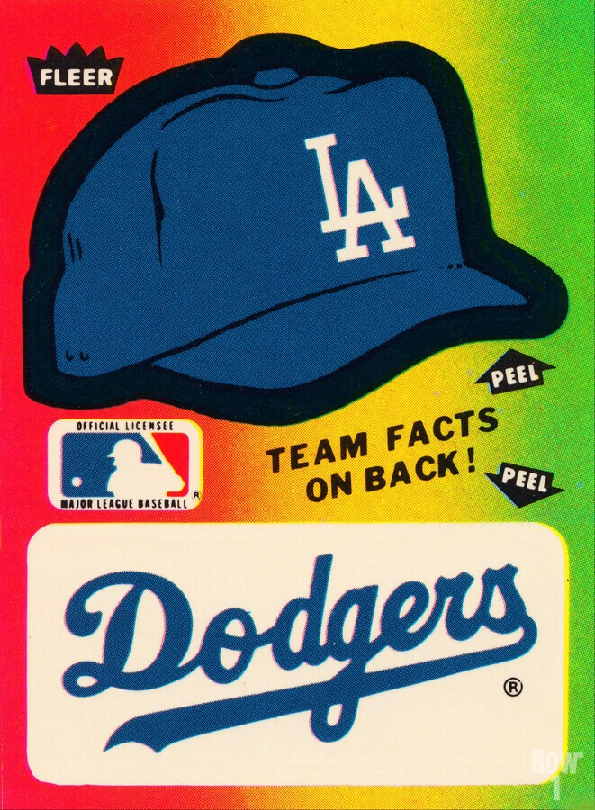 1983 fleer baseball stickers la dodgers ballcap art  Print