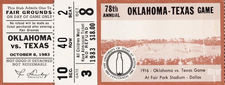 1983 Oklahoma Sooners vs. Texas Longhorns  Print