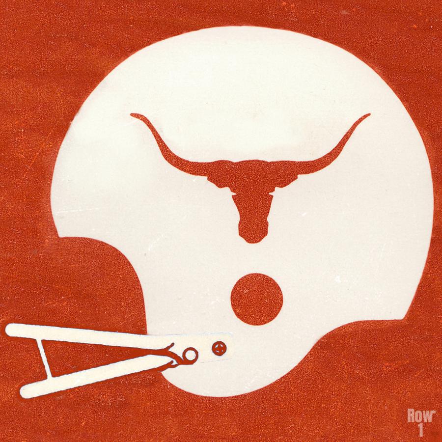 1983 Texas Longhorn Football Helmet Art Brushed Metal Sign  Print