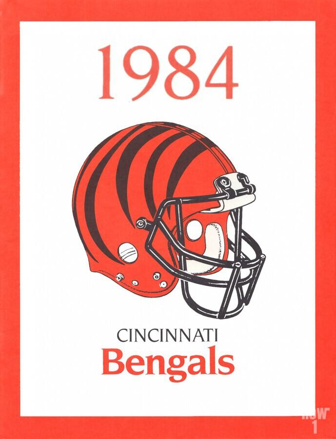1984 cincinnati bengals retro helmet poster  Print