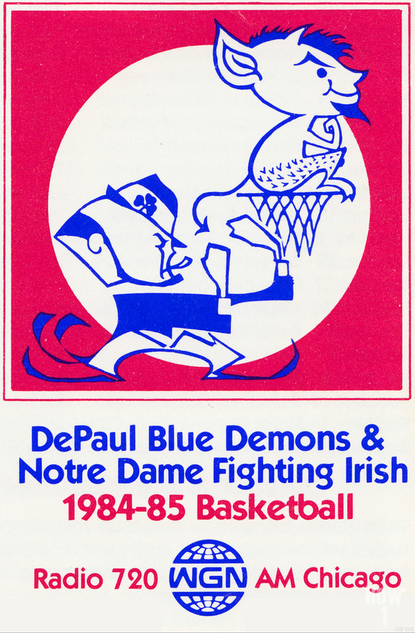 1984 DePaul Notre Dame Basketball WGN Poster  Print