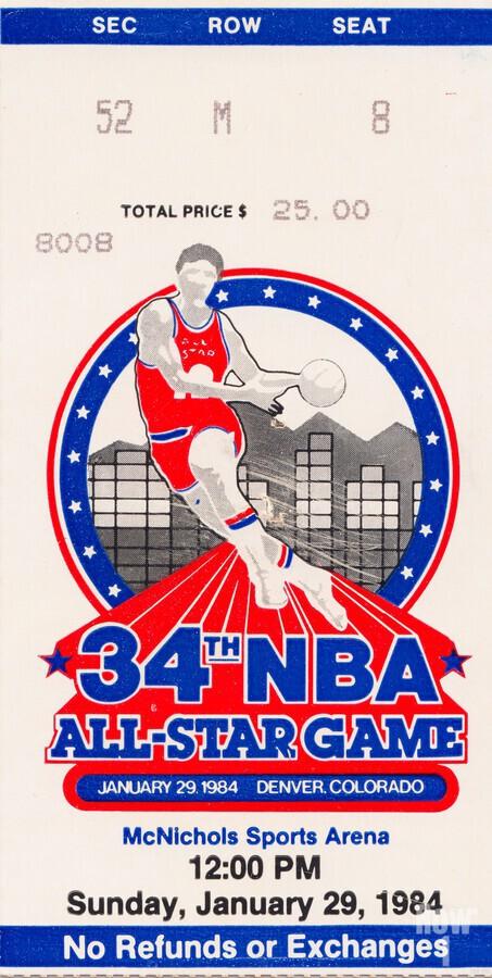 1984 NBA All-Star Game Ticket  Print