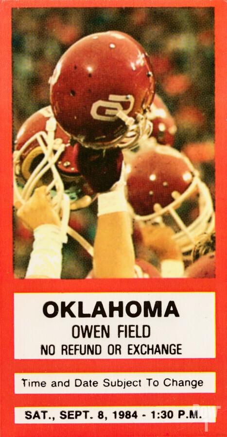 1984 Oklahoma Sooners Football Ticket Wall Art  Print