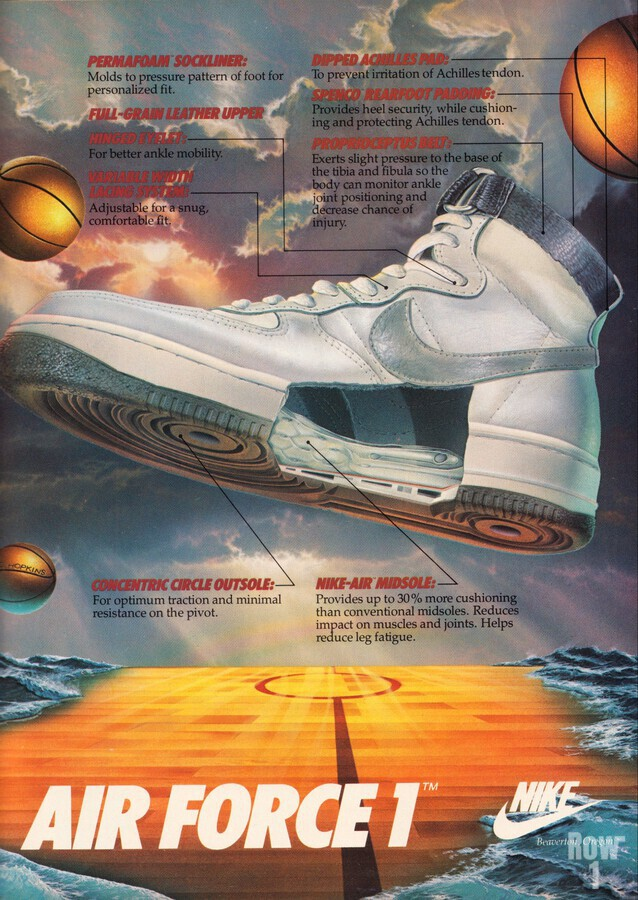 1984 Retro Nike Air Force 1 Shoe Ad Reproduction Print Row One Brand