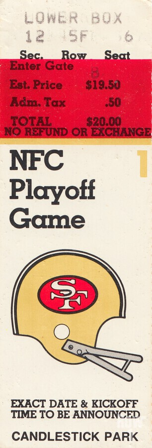 1984 san francisco 49ers nfl football ticket art nfc playoff game  Print