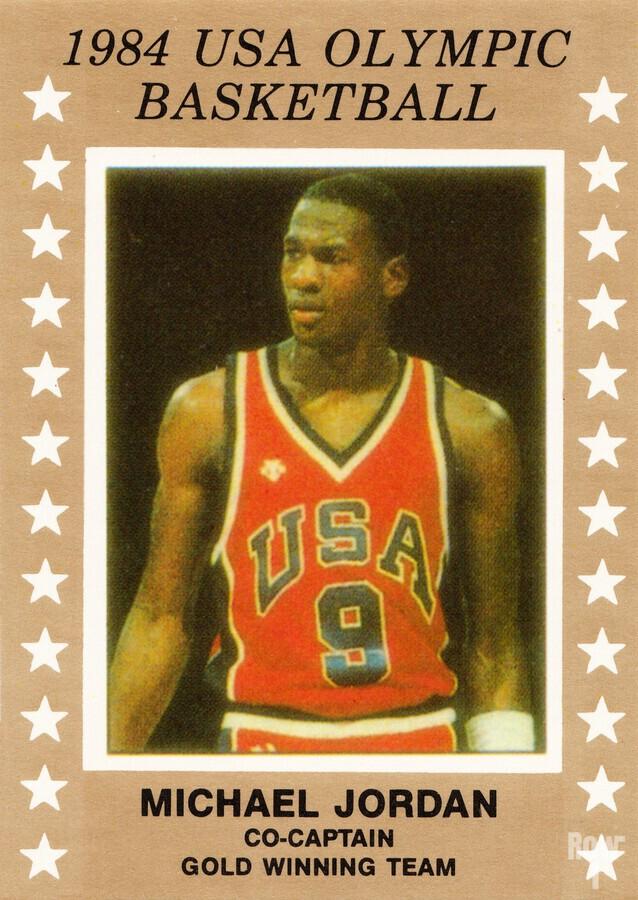 1984 usa olympic basketball gold medal michael jordan wood print  Print