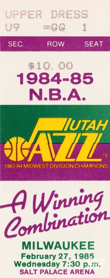 1984 utah jazz milwaukee bucks salt palace arena ticket art  Print