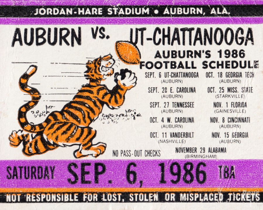 1986 Auburn Tigers vs. Chattanooga Mocs   Print