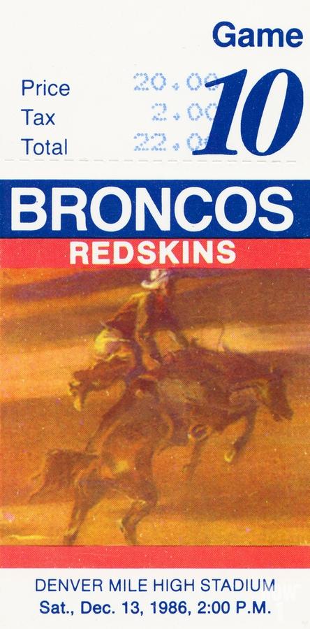 1986 Denver Broncos vs. Washington   Print