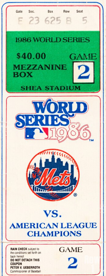 1986 New York Mets World Series Ticket Wall Art  Print