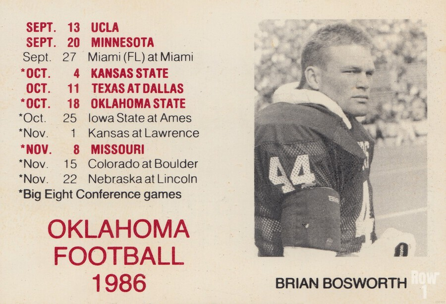 1986 Oklahoma Football Brian Bosworth  Print