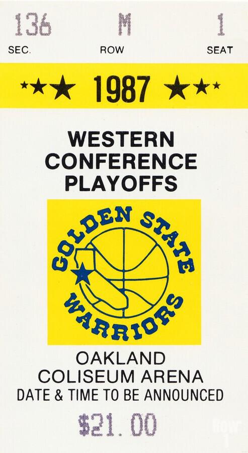 1987 golden state warriors nba basketball ticket art oakland coliseum  Print
