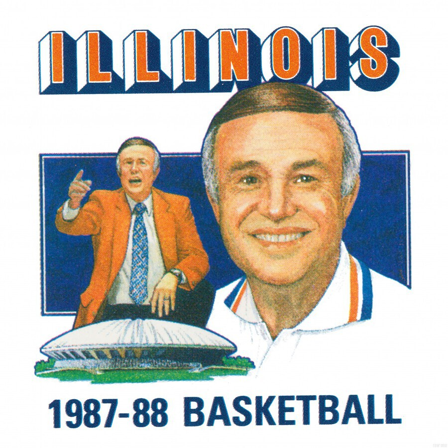 1987 Illinois Basketball Lou Henson  Print