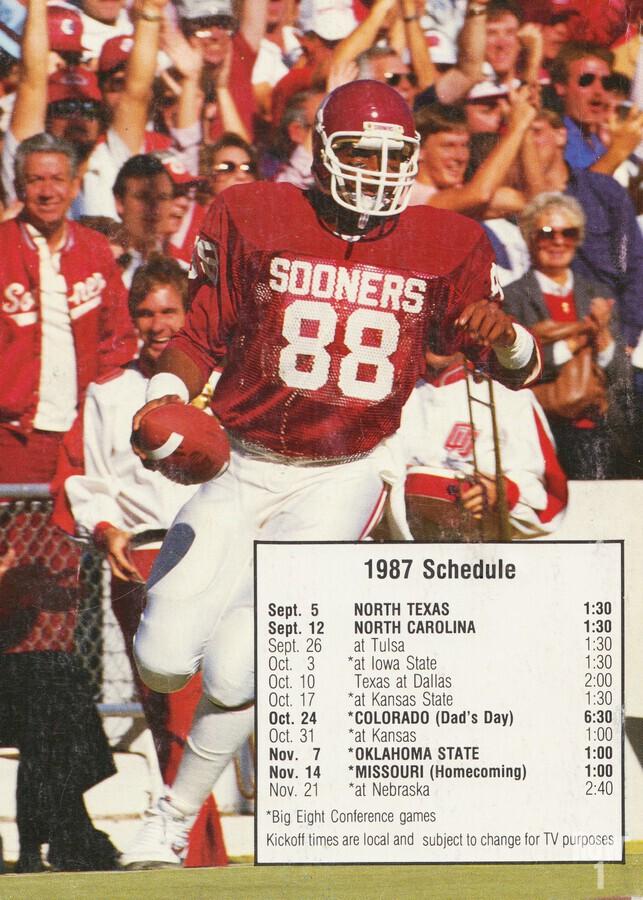 1987 oklahoma sooners football schedule poster  Print