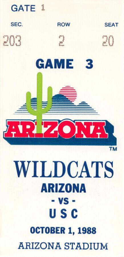 1988 arizona wildcats football vintage ticket stub canvas art  Print
