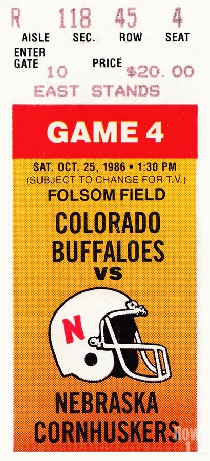 1986 Colorado Buffaloes vs. Nebraska Cornhuskers  Print
