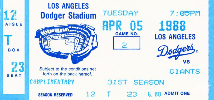 1988 la dodgers giants dodger stadium baseball ticket wall art sports gift  Print