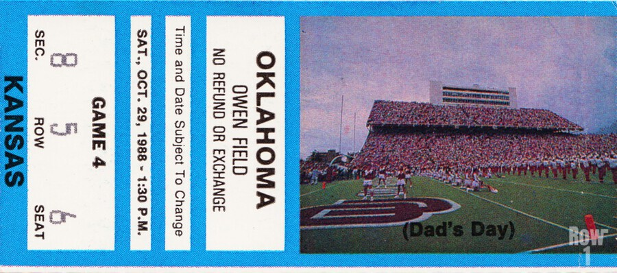 1988 oklahoma sooners kansas college football ticket art   Print