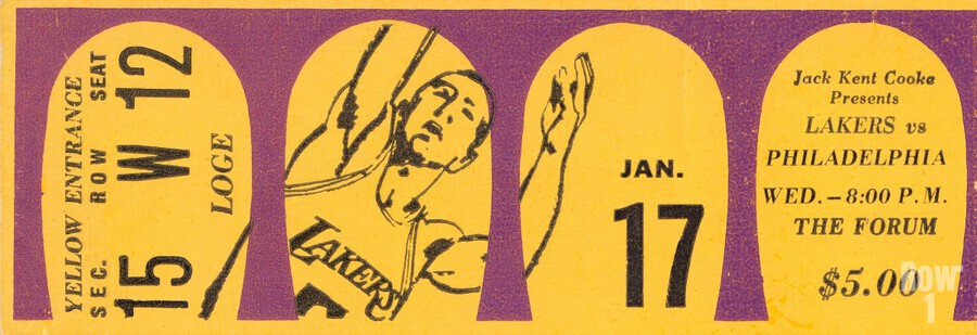 Jerry West 39 points 1968 la lakers nba basketball ticket stub art  Print