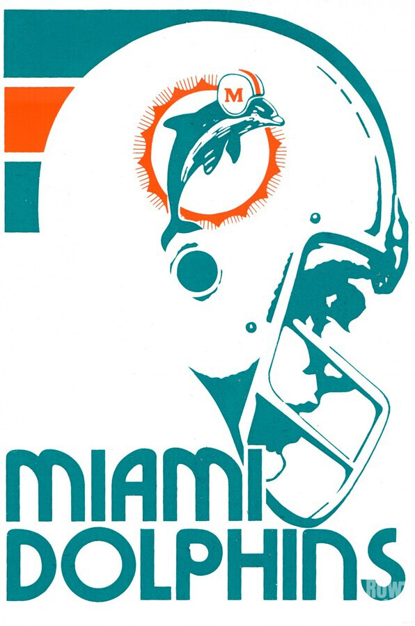 National Football League_Retro Miami Dolphins 1970s Art Reproduction  Print