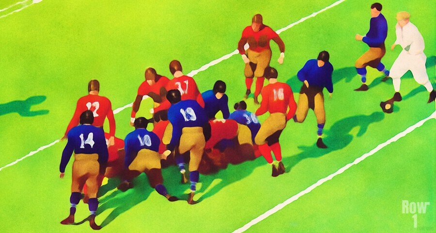 Vintage Football Art Sunny Day Gridiron Artwork  Print
