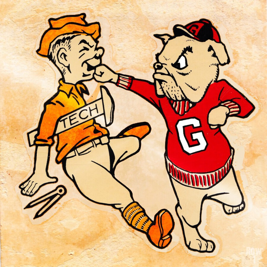 Vintage Georgia Bulldog Punching Tech Engineer College Canvas Print Wood  Print