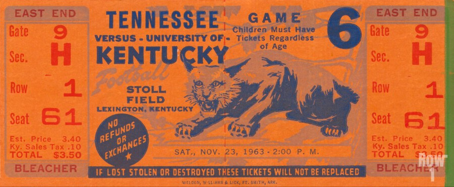 Vintage Kentucky Wildcats Football Ticket Art  Print