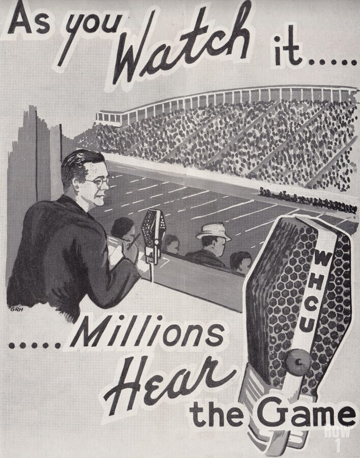 WHCU Radio_Ithaca_New York_Cornell Football Broadcast_WHCU Radio Station Poster Ad  Print