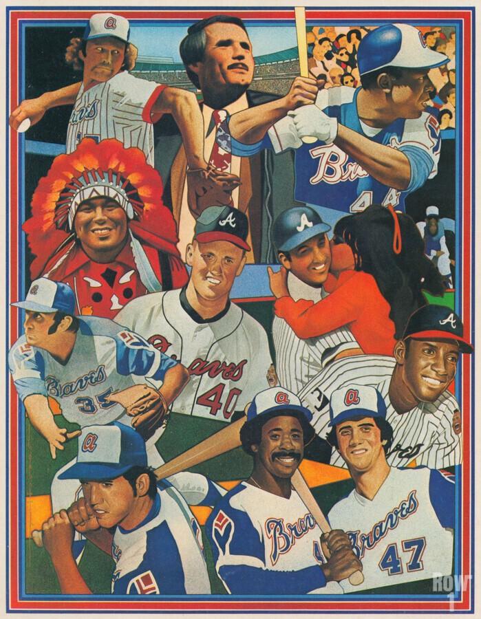 atlanta braves poster vintage baseball retro sports art reproduction  Print