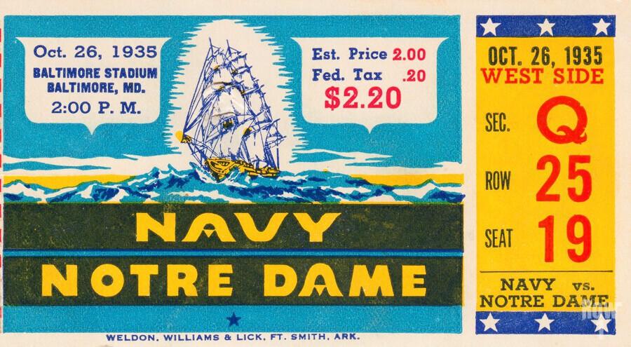 1935 Notre Dame vs. Navy Ticket Stub Wall Art  Print