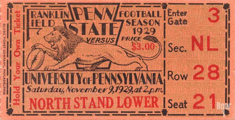 game room decor ideas 1929 pennsylvania penn state ticket canvas  Print