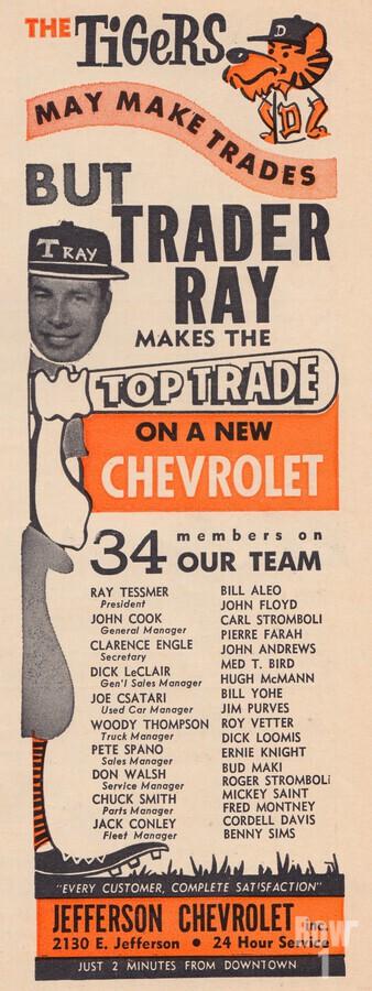 jefferson chevrolet detroit michigan car dealer auto sales ad vintage automobile sales advertising  Print